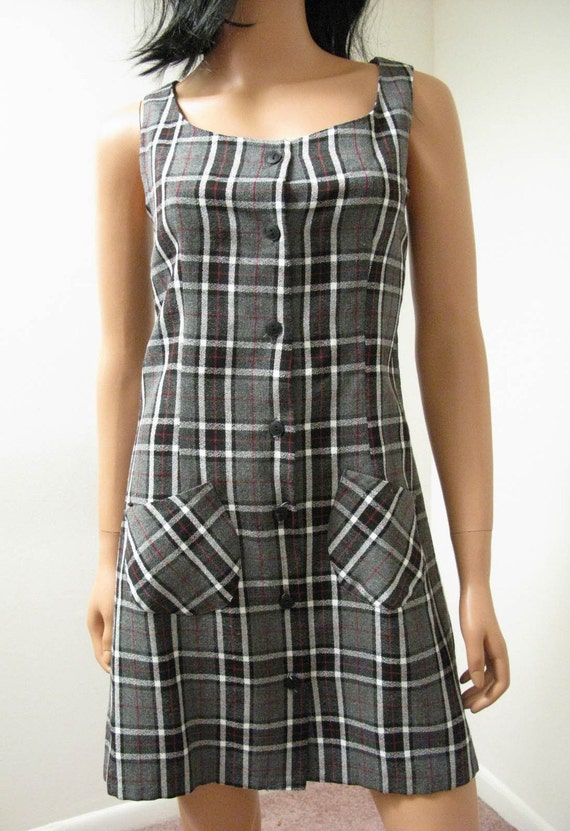 CLEARANCE Gray Plaid Mini Dress - Vintage 80s Punk Goth Sleeveless Dress Juniors Large with Priority Mail Shipping