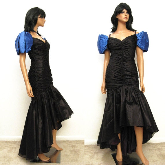 Vintage Wedding Dresses 80s: 80s Mermaid Prom Dress Vintage 1980s Long Black Chiffon Blue