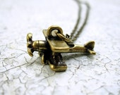 Airplane Necklace Mens Necklace Guys Pendant Necklace Mens Jewelry Propeller Necklace - CLEARANCE SALE