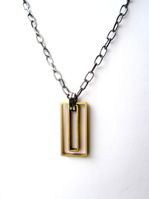 Mens Necklace. Geometric Pendant Necklace. Chain Necklace f/ Guys. Mixed Metal Jewelry for Him and Her.