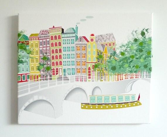 Amsterdam Wall Art Canal bridge boats, Canvas Print, Dutch Skyline, Cityscape, Illustration, Home decor, Art for kids room, nursery ABBCW01