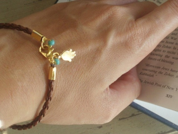 hamsa bracelet, hamsa cameo, good luck bracelet, kabbalah string, lucky charm, kabbalah cameo, evil eye jewelry, brown and black cord, luck