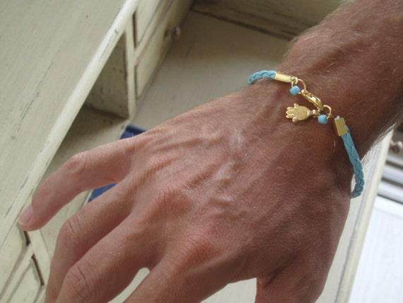 Hamsa Bracelet unisex gold charm kabbalah cameo for luck fashion stylish outfit by RedBracelet on Etsy