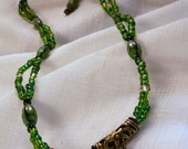 Necklace, 22in, Swarovski, Glass, Brass, Green