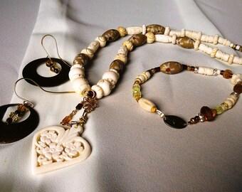 Necklace, Neutral, White, Brown, Beige, Bone, Ceramic  4754