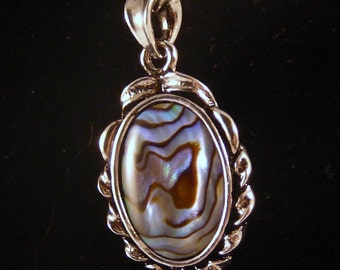 Necklace, 18in, Abalone, Sterling Silver  3045