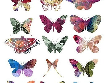 Butterfly Art Collection - Original Art Work - A4 Digital Collage Sheet - For unlimited number of prints