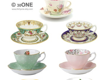 PNG File - Tea Time - Tea Cups A4 Digital Collage Sheet - For unlimited number of prints