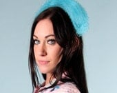 Vintage 60s Turquoise Blue Netted Hat Headband Head band Hair Accessory