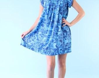Vintage Blue Hawaiian Luau Mini Dress 60s Island Beach S M