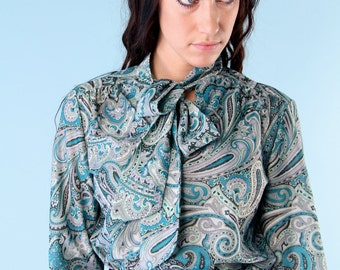 Vintage Blue Paisley Bow Tie Blouse Shirt 70s Small Boho