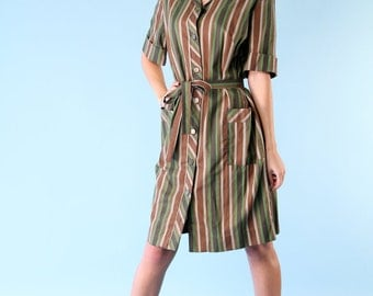 Vintage Shirt Dress Brown Green Striped Belted Knee Length 70s - Small