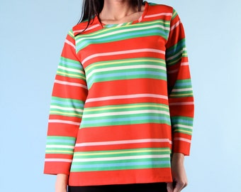 Vintage Handmade Tunic Shirt Top 70s Medium Long Sleeve Red Blue Green Striped