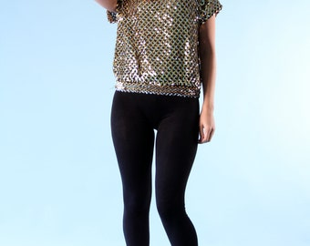 Vintage Sequin Shirt Short Sleeve Sparkle Gold Silver Small Medium 80s New Years Cocktail Party