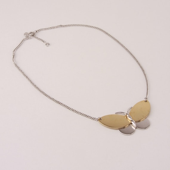 Vintage 1970s Butterfly Necklace Gold Silver