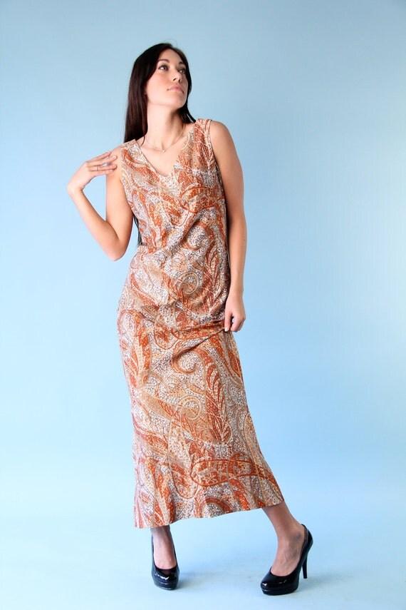 Vintage Boho Gypsy Hippie Chic Autumn Paisley Maxi Dress 1970s S M