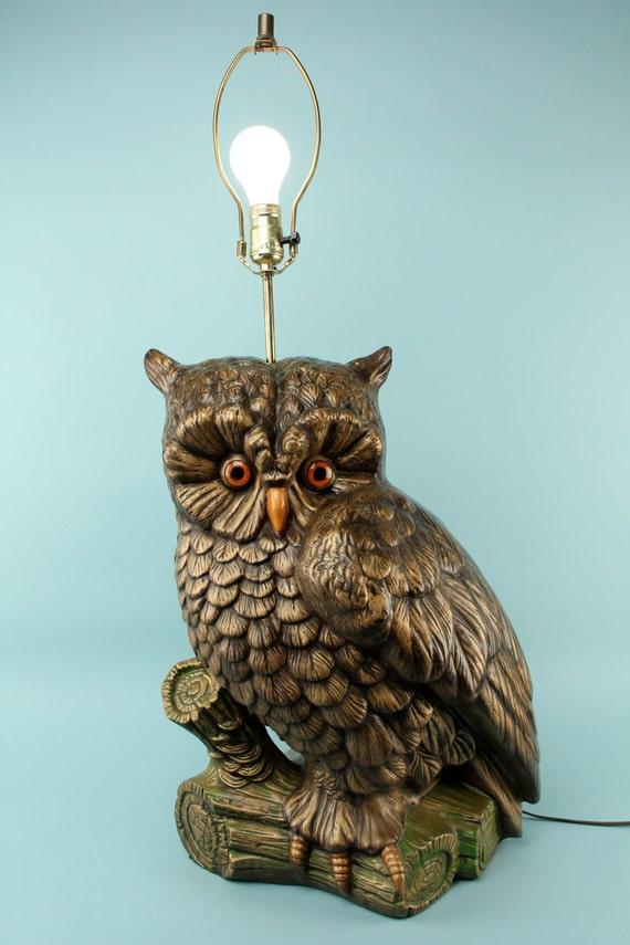 Vintage Gigantic Owl Table Lamp Lighting Home Decor Rustic Woodland 70s