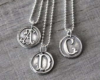 Personalized Wax Seal Initial Necklace -  Custom Initial Charm with Sterling Silver Chain - Handcrafted