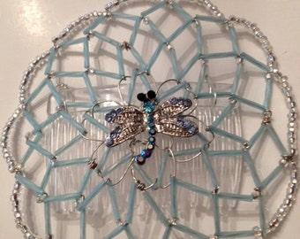 Baby Blue Kippah with Blue Crystal Dragonfly Center