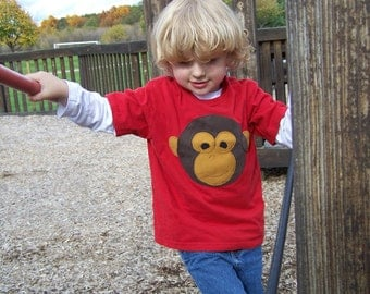 Monkey Face Tshirt Pieced Fabric Applique Youth Child Kids Size XSmall 4 5, Small 6 7, Medium 8 10, Large 12 14, XLarge 16 18