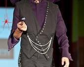 EDDiEZ TAILZ Tail Coat Vest Gothic Steampunk Dinner Jacket with Chains