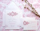 Belle Fleur Monogram Wedding Invitations - French Wedding - Garden Wedding - Classic Wedding - Victorian Wedding