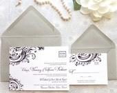Black Tie Wedding Invitations - Formal Wedding - Classic Wedding - Upscale Wedding