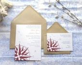 Compass Rose Nautical Wedding Invitations - Beach Wedding - Sailing Wedding - Ocean Wedding - Boat Wedding