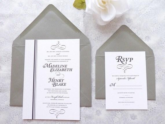 Manhattan Black Tie Wedding Invitations - Formal Wedding - Upscale Wedding - Classic Wedding
