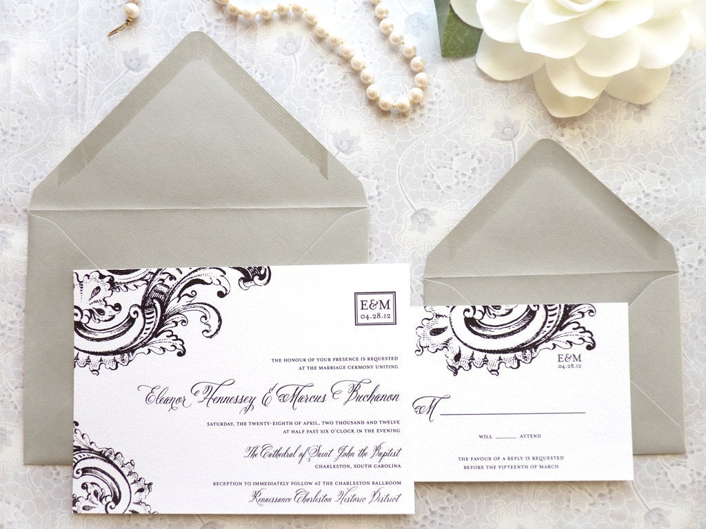Formal Wording For Wedding Invitations: Black Tie Wedding Invitations Formal Wedding By Merrymint