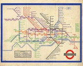 Vintage London Map - The Underground WWII Subway Map - Kitsch 1940s British Art Print - Tube Map - Colourful Sepia Whimsical Home Decor - missquitecontrary