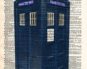 Tardis Print - Vintage Dictionary Art - Doctor Who Upcycled Art - Recycled Antique Book Print - Sci Fi Art Print - British Police Box