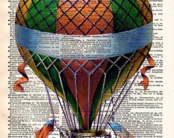 Hot Air Balloon Print - Vintage Book Page Print - Recycled Antique Book Print - Carnival Victorian Steampunk Airship