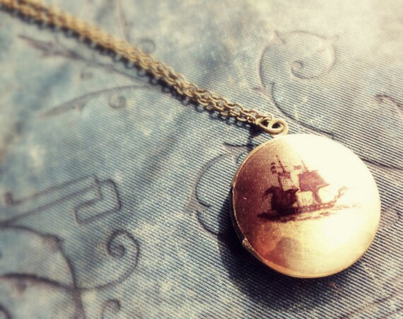 Locket Necklace - Pirate Ship - Vintage Illustration - Historical Masculine Sail Boat - Upcycled Salvage Jewelery