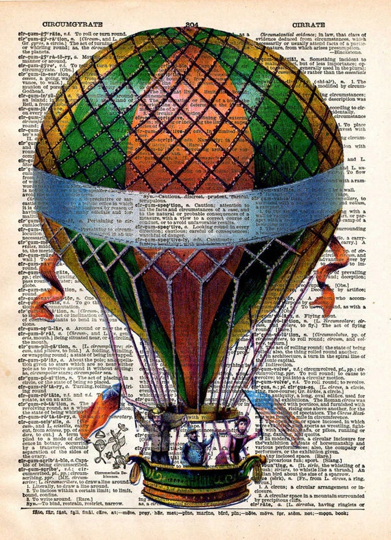 Hot Air Balloon Print Vintage Book Page Print Recycled