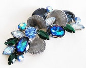 DeLizza and Elster Juliana Large Blue Floral Brooch