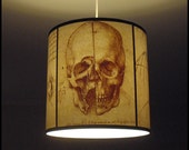 Da Vinci's Creed Skull pendant lamp shade lampshade - skull lamp, halloween, human anatomy, steampunk lighting, assassin's creed, drum shade