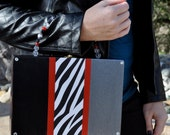 Statement Handbag, Cigar Box Purse with Zebra Print, Black and White Purse, Metallic Silver, evening bag