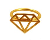 Diamond Ring in Gold, Graphic Diamond Ring