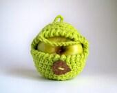 Apple Cozy - Hipster Gift - Crochet Apple Cozy - Apple Sweater - Snack Bags - Neon Green - Gifts Under 20 - Vegan Gift