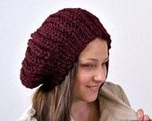 Knit Slouchy Hat, Knit Pom Pom Hat, Knit Slouchy Beanie Hat, Knit Slouch Hat, Hand Knit Beanie, Slouchy Knit Hat, Womens Slouchy Beanie