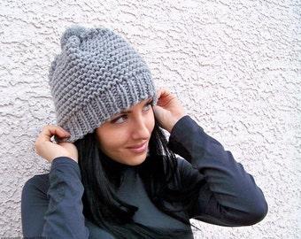 Knit Hat With Pom Pom Hat, Womens Pom Pom Hat, Knit Hat Men, Chunky Knit Hat, Winter Hat Women, Winter Hat Men Knit Beanie Hat Mens Knit Hat