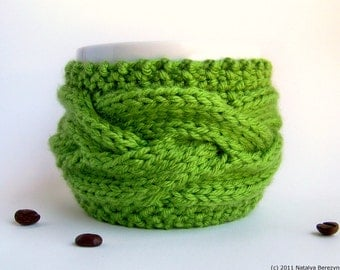 Coffee Sleeve, Green Tea Cozy, Coffee Cozy, Coffee Cup Sleeve, Coffee Mug Cozy, Coffee Cup Cozy, Vegan Gifts, Yoga Gifts, Tea Gifts Greenery