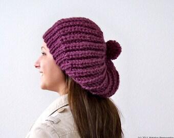 Knit Hat with Pom Pom, Purple Hat, Purple Beanie, Chunky Knit Hat, Womens Slouchy Hat, Slouchy Beanie, Winter Hat, Hand Knit Hat, Chunky Hat