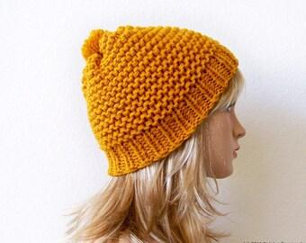 Knit Pom Pom Hat, Chunky Knit Hat With Pom Pom, Beanie Hat, Womens Winter Hat Women, Mens Winter Hat Men, Pom Beanie, Hand Knit Hat, Ski Hat