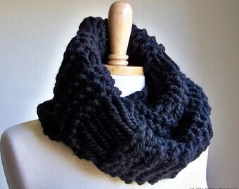 Knit Cowl Scarf Black Infinity Scarf Knit Infinity Scarf Men Chunky Scarf Chunky Knit Scarf Chunky Infinity Scarf Chunky Knit Cowl Scarf Men