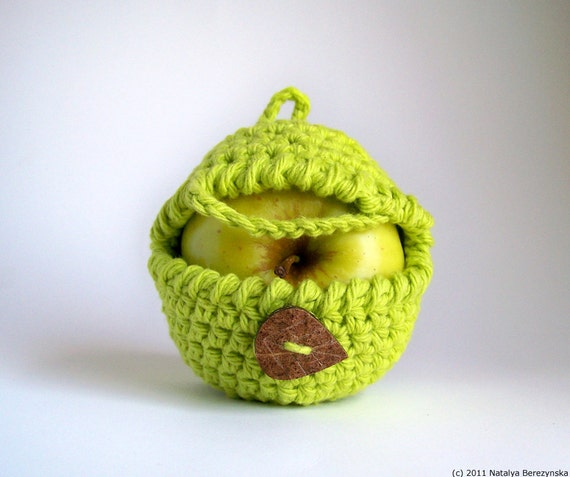 Apple Cozy, Yoga Gifts, Hipster Gift, Crochet Apple Cozy, Boyfriend Gift, Snack Bags, Student Gifts, Neon Green, Fitness Gifts, Vegan Gift