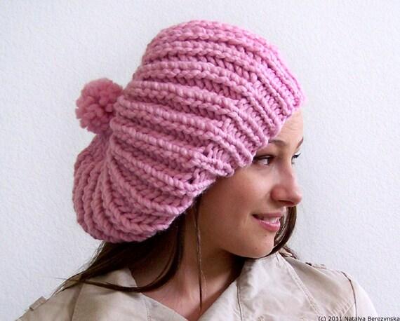 Pink Hat Knit Hat With Pom Pom Hat Womens Slouchy Beanie Knit Slouchy Hat Pom Beanie Chunky Knit Hat Womens Winter Hat Knit Slouchy Beanie