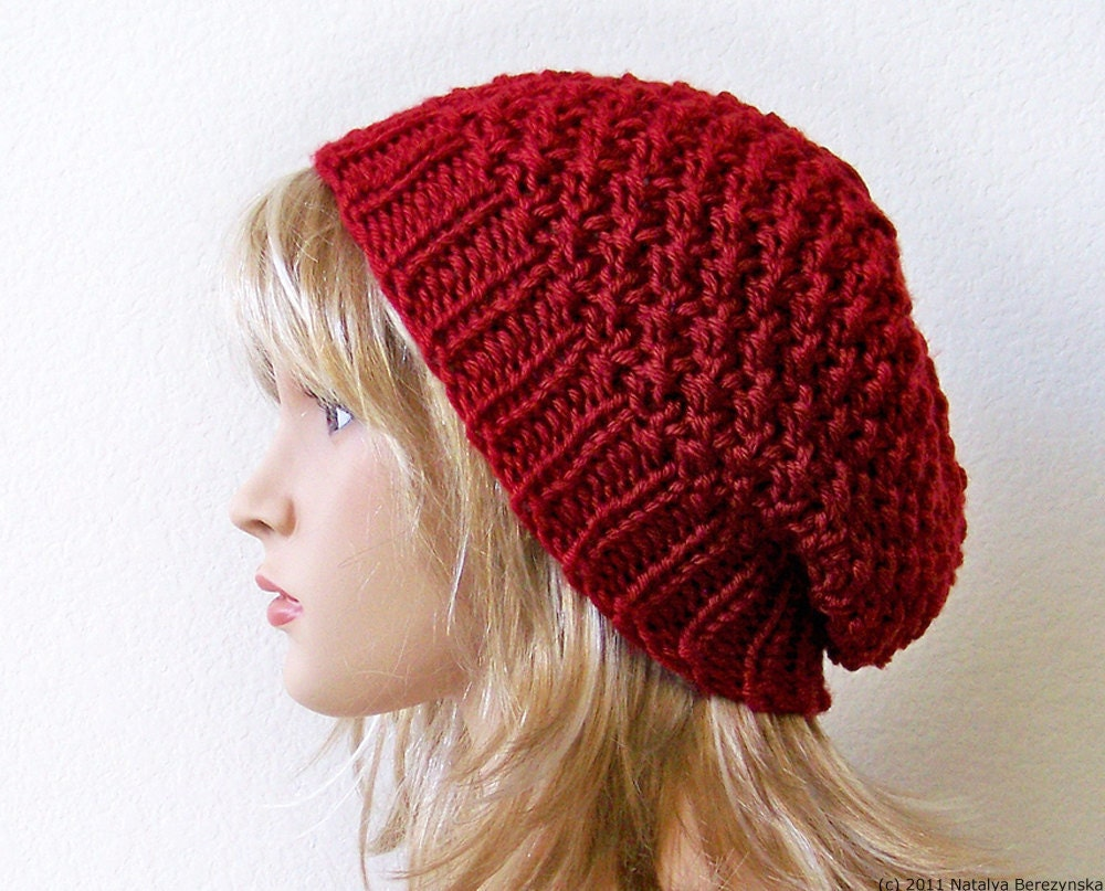 Knitting Women S Hats : Valentines hat gift for her knit slouchy beanie
