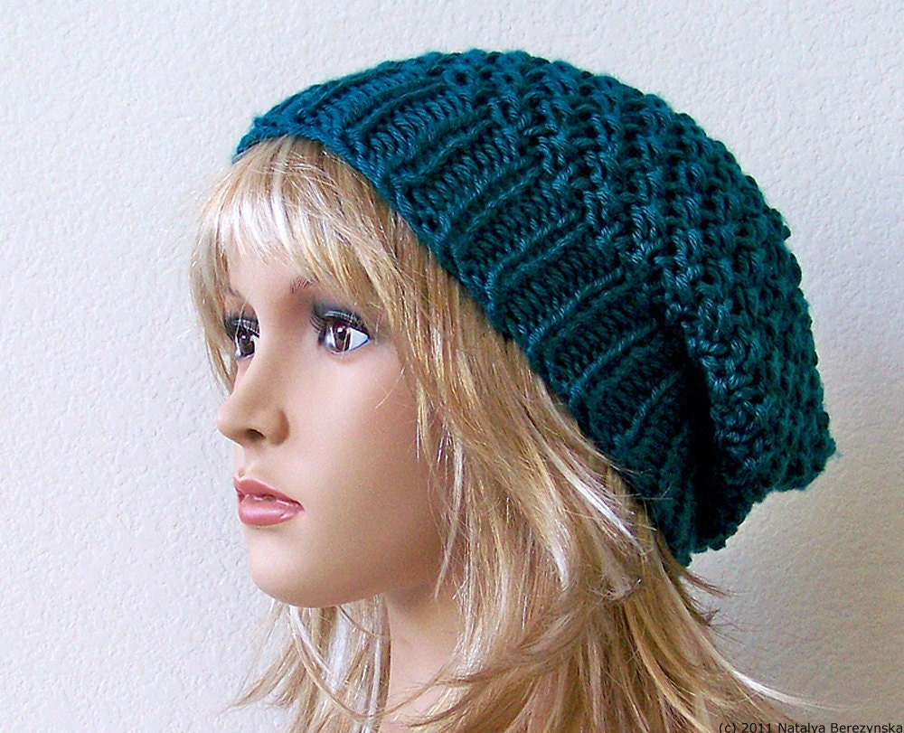 Teal Hat Slouchy Beanie Hat Womens Hats Mens Hat by natalya1905